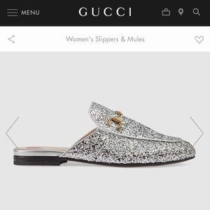 Authentic Gucci Princetown glitter slipper